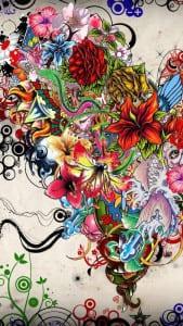 gambar tato bunga abstrak