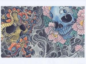 gambar tato tengkorak dan bunga