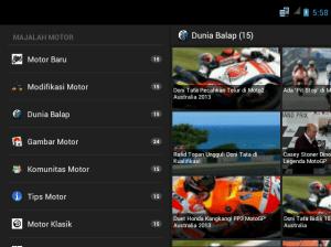 tampilan Aplikasi Majalah Motor