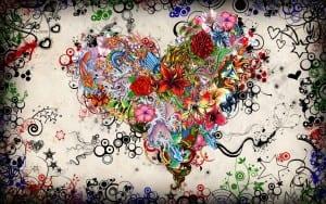 tato bunga dan hati