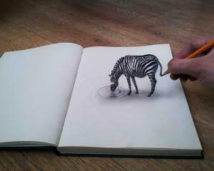 Gambar lukisan 3d dengan pensil