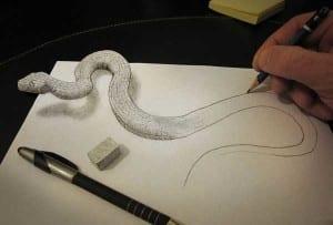 Gambar lukisan 3d memakai pensil