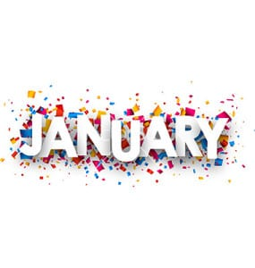 January sign with colour confetti. Vector paper illustration.