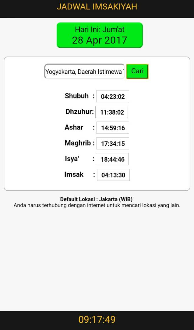 Aplikasi Jadwal Imsakiyah Ramadhan