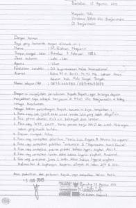 Contoh Surat Lamaran Tulis Tangan